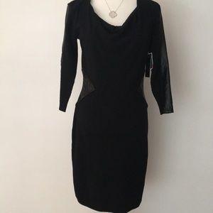 Black knit dress with faux leather trim